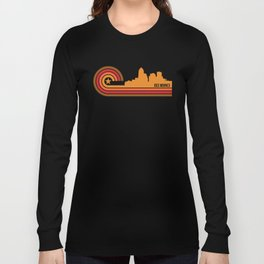 Retro Des Moines Iowa Skyline Long Sleeve T-shirt