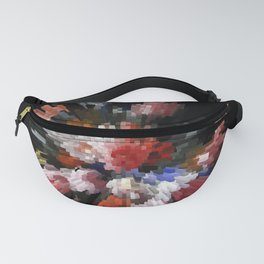 Abstract 3D pixel flowers Fanny Pack