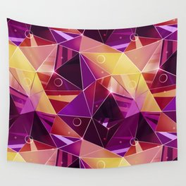 Polygonal pattern.Black, red, yellow, orange background. Wall Tapestry