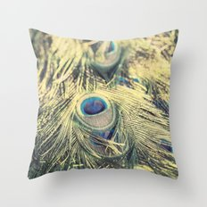 Peacock feathers photography blue green brown photography branches immortality royalty Throw Pillow
