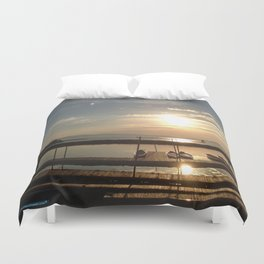 Lake Champlain Ferry to Burlington Vermont at Sunset Duvet Cover