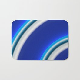 Blue and white curved Line abstract Bath Mat