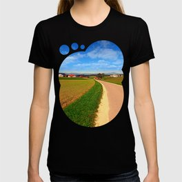 A road, a village and summer season | landscape photography T-shirt