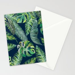 Jungle Leaves, Banana, Monstera, Blue Stationery Cards