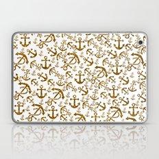 Elegant white gold faux glitter nautical anchor pattern Laptop & iPad Skin