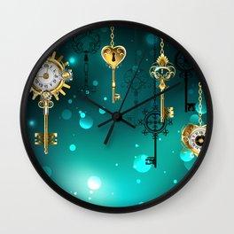 Antique Keys on Green Background ( Steampunk ) Wall Clock