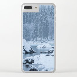 Heavy snow fall lake Fusine, Italy Clear iPhone Case