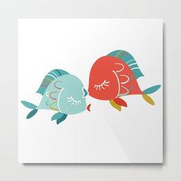 Kissing Fishes Metal Print