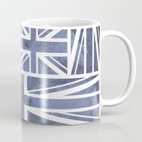 union jack Mugs featuring UNION JACK by Oksana Smith
