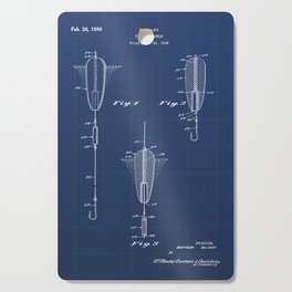 Fishing Tackle Vintage Patent Hand Drawing Cutting Board