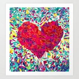 Low Poly Patch Heart Art Print