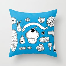 Sticker World Throw Pillow