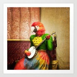 Banjo Birdy Plucks a Pretty Tune! Art Print