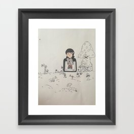 a boy and his shroom friend Framed Art Print
