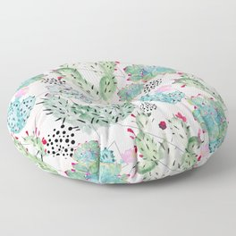 Modern triangles and hand paint cactus pattern Floor Pillow