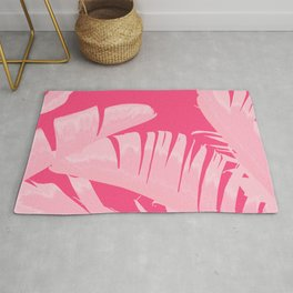 Chill Pink Tropical Banana Leaves Design Rug