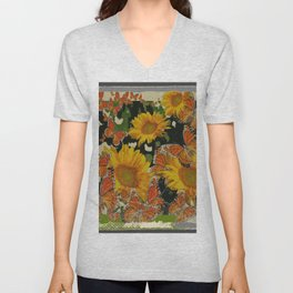 GRUNGY ANTIQUE STYLE  MONARCH BUTTERFLIES  SUNFLOWERS Unisex V-Neck
