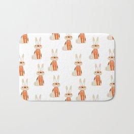 Cute funny hand drawn orange brown vector rabbit pattern Bath Mat