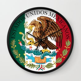 Flag of Mexico with Coat of Arms (augmented scale) Wall Clock
