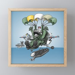 Naval Aviation Life Support Systems (ALSS) Parachute Rigger Cartoon Framed Mini Art Print