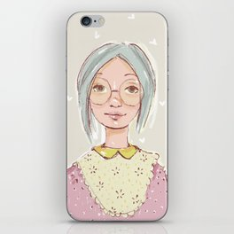 Girl with glasses iPhone Skin