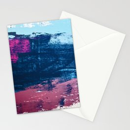 Early Bird [2]: A vibrant minimal abstract piece in blues and pink by Alyssa Hamilton Art Stationery Cards