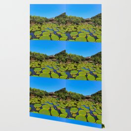 Asian Garden Pond Landscape Wallpaper