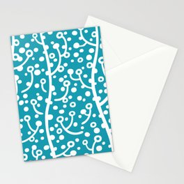 Mid Century Modern Spring Blossoms Turquoise Stationery Cards