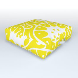 Lemon Swirl Pattern | Swirl Pattern | Abstract Patterns | Yellow and White | Outdoor Floor Cushion