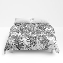Zen junle, nature, botanical, black and white Comforters
