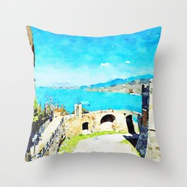 Agropoli: the sea and the Cilento mountains seen from the castle Throw Pillow