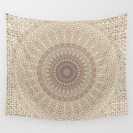 Unique Texture Taupe Burlap Mandala Design Wall Tapestry