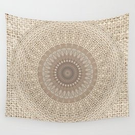 Unique Texture Taupe Burlap Mandala Design Wall Tapestry