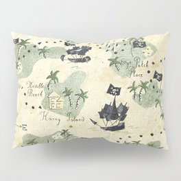 Hand Drawn Pirate Map Pillow Sham