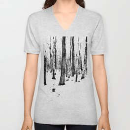 Trees in the Snow (B&W) Unisex V-Neck
