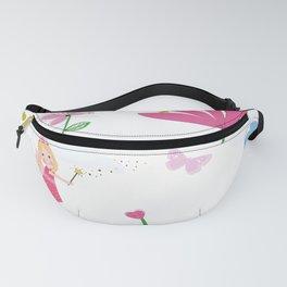 Summer Flowers, Butterflies and Fairy Pattern Wallpaper Fanny Pack