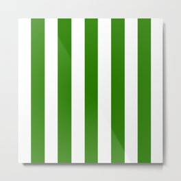 Napier green - solid color - white vertical lines pattern Metal Print