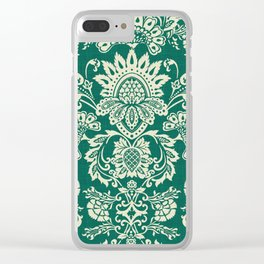 Damask vintage in green Clear iPhone Case