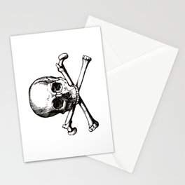 Skull and Crossbones | Jolly Roger | Pirate Flag | Black and White | Stationery Cards