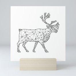 Caribou Side Nodes Black and White Mini Art Print