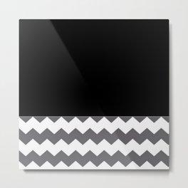 Chevron Gray Black And White - Glamour Metal Print