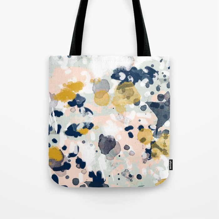 Noel - navy mint gold painted abstract brushstrokes minimal modern canvas art painting Tote Bag