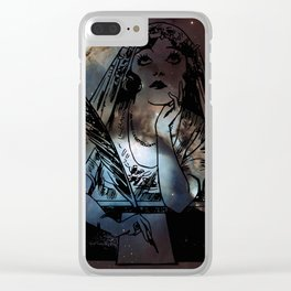 Galaxy Gypsy Writing a Letter to the Cosmos Clear iPhone Case