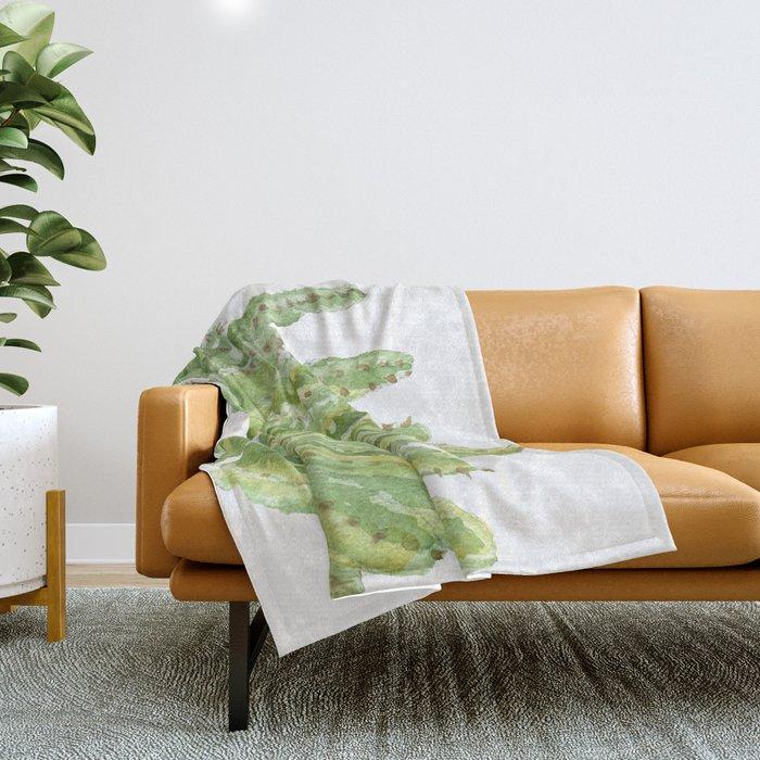Moroccan Mound Cactus Watercolor Throw Blanket