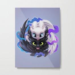 Dragon Black White Metal Print