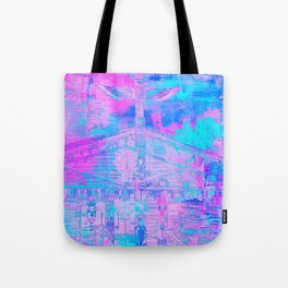 Totem Cabin Abstract - Hot Pink & Turquoise Tote Bag