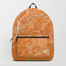 Wuppertal, Germany, Gold, Blue, City, Map Backpack