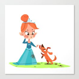 Princess and the mucky Pooch Canvas Print