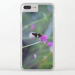 Butterfly On Purple Cornflower Clear iPhone Case