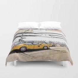 Guggenheim New York, umbrellas and yellow cabs. Sketch Duvet Cover